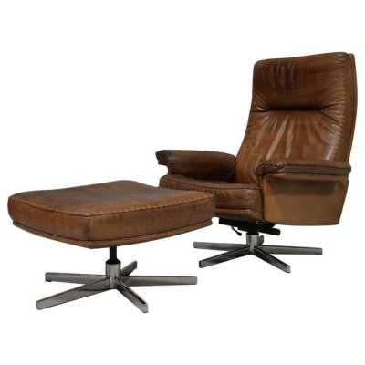 Vintage De Sede DS 35 Leather Swivel Armchair & ottoman, Switzerland 1970s