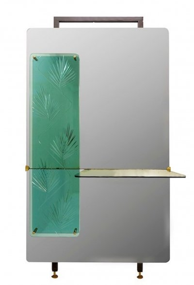 Italian Console Mirror With Decorative Panel in Engraved Crystal, 1960s