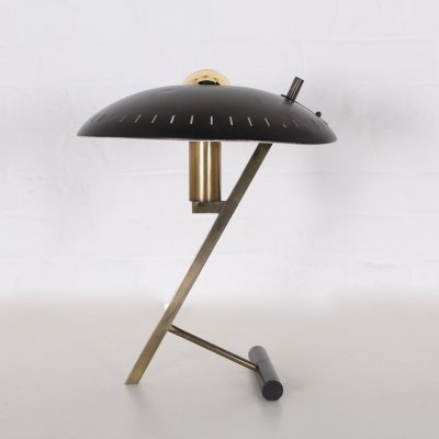 Rare 1st edition Decora or 'Z' desk lamp in brass & metal by Louis Kalff for Philips, 1950's