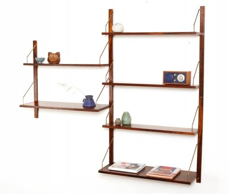 Vintage Danish rosewood & brass wall unit with 6 shelves, 1960s