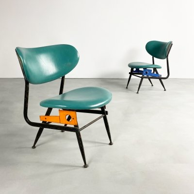 Pair of Green Leather & Steel Chairs, Italy c.1970