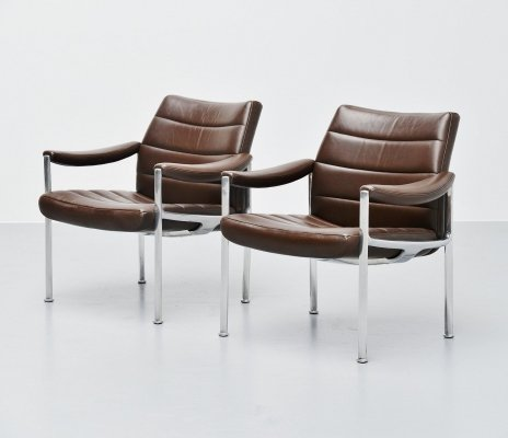 Miller Borgsen lounge chairs in brown by Röder Söhne, Germany 1966