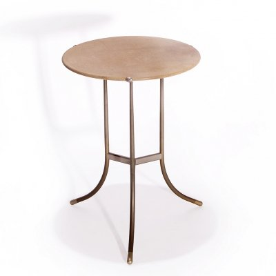 Cedric Hartman Bronze Vintage Side Table With Bevelled Granite Top, USA 70s