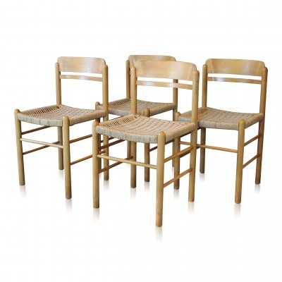 Set of 4 vintage Scandinavian style elm & cord dining chairs, 1960s