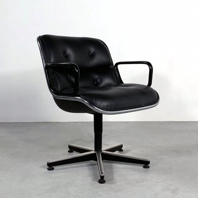 Black Leather Office Chair by Charles Pollock for Knoll, 1970s
