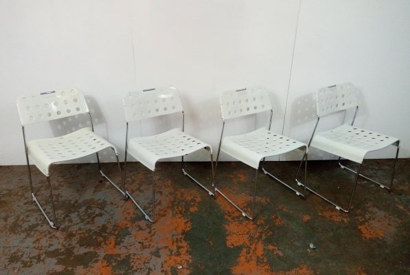Set of 4 Omstak dining chairs by Rodney Kinsman for Bieffeplast, 1970s