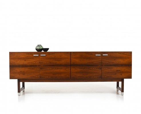 Mid Century low Danish Sideboard with Swinging Doors