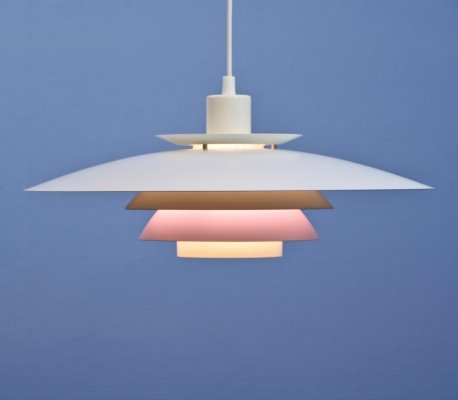 Danish hanging lamp in white & off-white with pink accent, 1970s