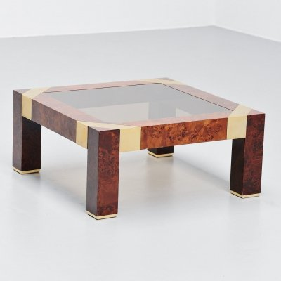 Jean Claude Mahey burlwood coffee table, France 1970