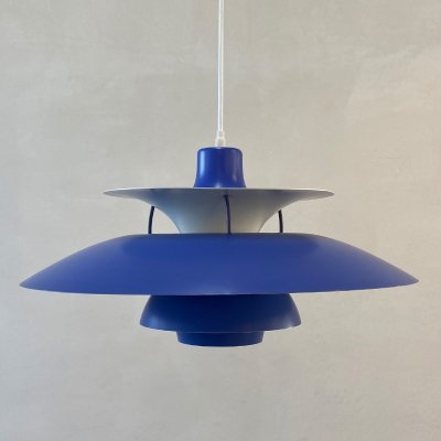 Blue PH5 hanging lamp by Poul Henningsen for Louis Poulsen, 1960s