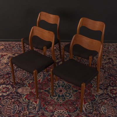Set of 4 Model 71 dining chairs by Niels Otto Møller for JL Møllers Møbelfabrik, 1950s