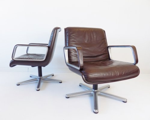 Pair of Wilkhahn Delta 2000 leather lounge chairs by Delta Design