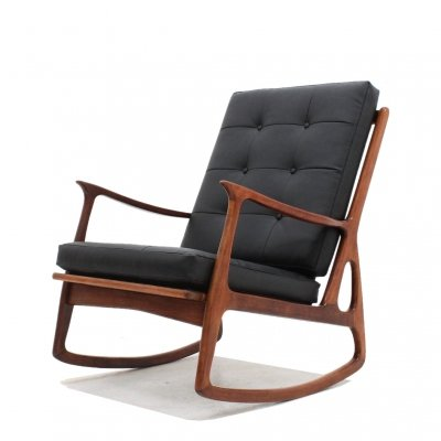 Italian mid century teak rocking chair, 1950s
