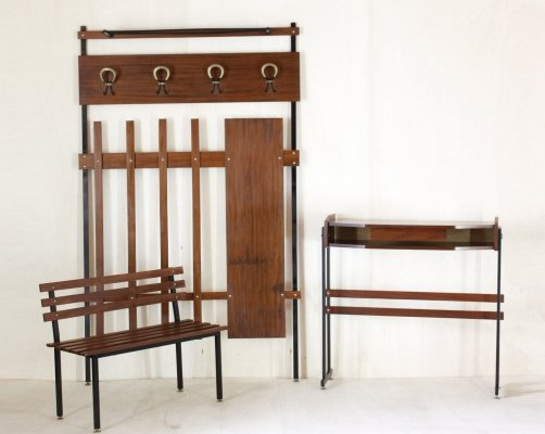 1950s Scandinavian Entrance Set with Console, Rack & Bench