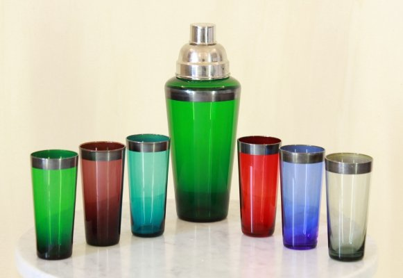 Vintage multicolour glass cocktails set, 1960s
