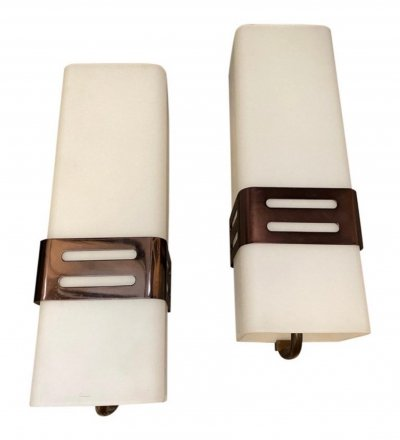 Set of Two Stilnovo Mid-Century Modern Copper & Glass Wall Sconces, 1960s