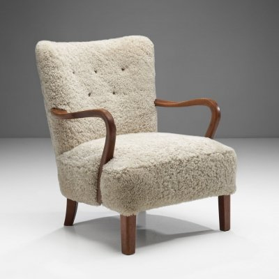 Patinated Oak Armchair by Danish Cabinetmaker, Denmark ca 1950s