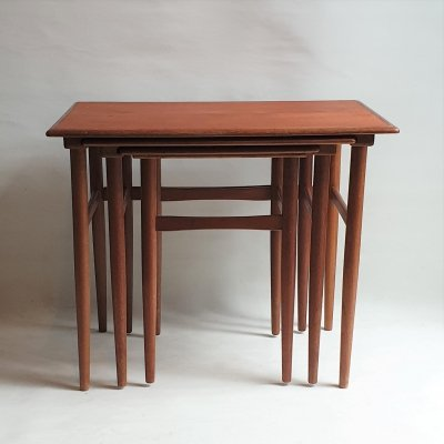 Teak wood nesting tables by Poul Hundevad, 1960s