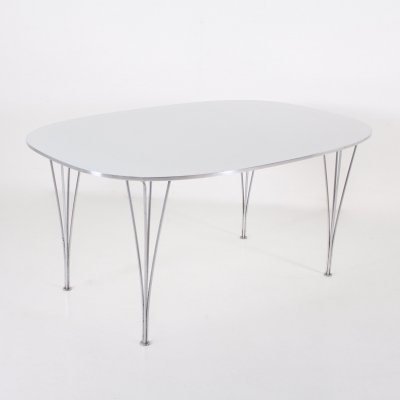 Steel, laminate & aluminium 'Super Ellipse' table by Arne Jacobsen & Bruno Mathsson for Fritz Hansen, 1960s