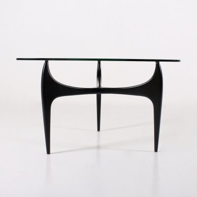 Black lacquered beech & glass tripod coffee table by Jos Demey for Luxus, 1950's