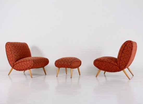 Rare pair of armchairs & ottoman by Norman Bel Geddes, 1950's