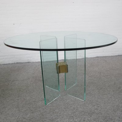 Glass & brass dining table by Peter Ghyczy for Ghyczy 1970s