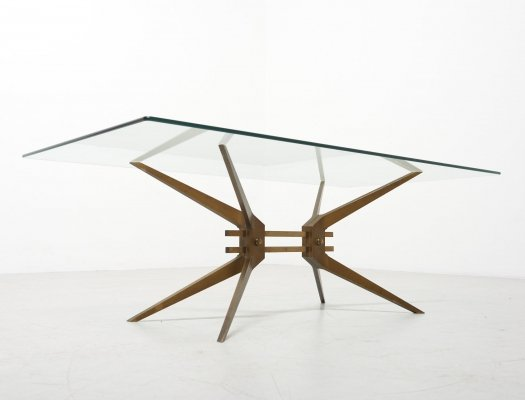 Coffee Table with Brass Frame, Italy 1950's