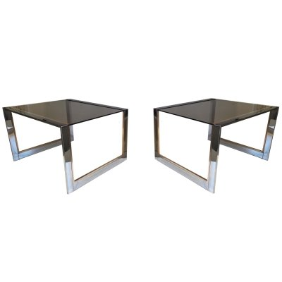 Pair of Belgo Chrom side tables, 1970s