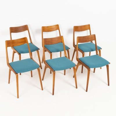 6 'boomerang' chairs by Alfred Christensen