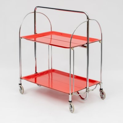 Classic 'Dinett' serving trolley in red, 1960s