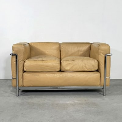 LC2 2-seater Sofa by Le Corbusier for Cassina, 1970s
