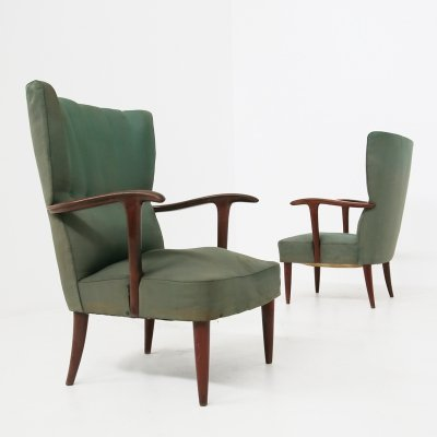 Pair of Green Armchairs in Original Fabric by Paolo Buffa, 1940s