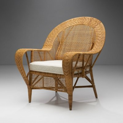 Kay Fisker 'Canton' Rattan Lounge Chair for Robert Wengler, Denmark 1950s