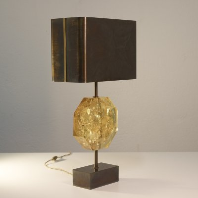 Fractal resin & bronze 'Octogonal' table lamp by Maison Charles, 1970