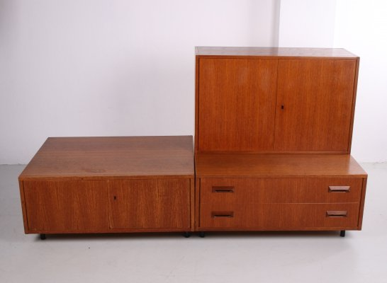 Vintage TV furniture with two drawers & three separate cabinets with metal leg