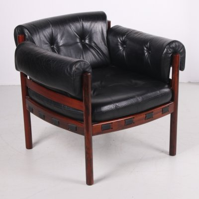 Sven Ellekaer for Coja black leather armchair, 1970s