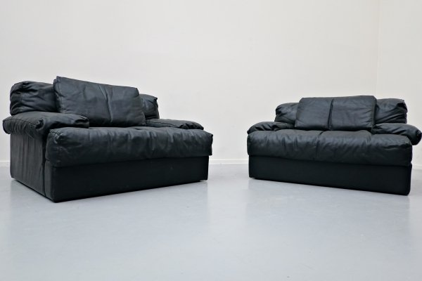 Pair of Italian Leather Armchairs, 1960s
