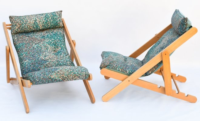 Ultra rare sixties folding lounge deck chairs in wood & cotton, 1960s