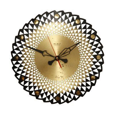 Mid Century Weimar metal gold wall clock, Germany 1960s-1970s