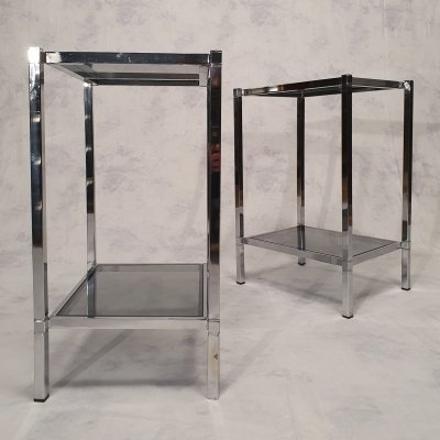 Pair of Chrome Nightstands, 1970s