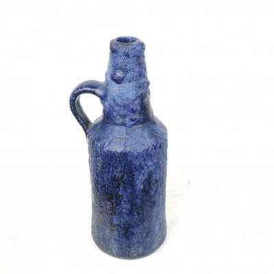 Blue brutalist driping glace ceramic ear vase, 1960's