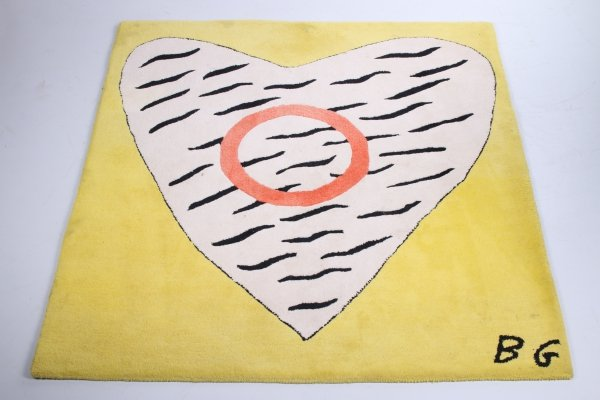 Vintage 'Heart' Rug with red, white & yellow, 1960s