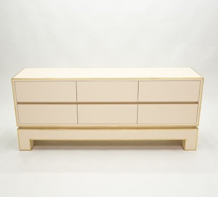 Sideboard commode in brass white lacquer by Alain Delon for Maison Jansen, 1975