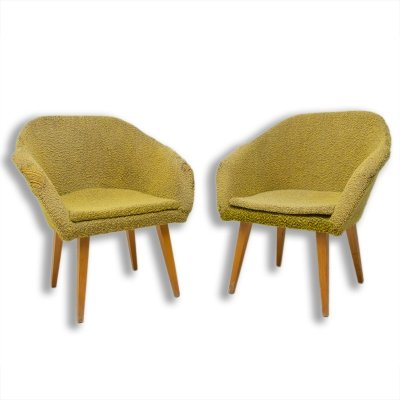 Pair of mid century shell fiberglass lounge chairs, Czechoslovakia 1960s