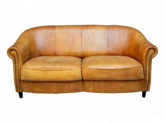 Vintage sheep leather sofa, 1970s