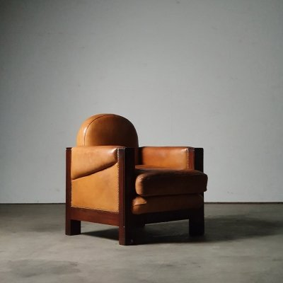 1920s Amsterdamse School chair in solid Rosewood with leather upholstery
