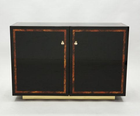 Black lacquer burl wood & brass cabinet sideboard by J.C. Mahey, 1970s