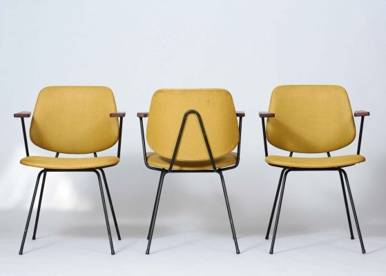 Set of 3 dining chairs by Wim Rietveld for Kembo, 1950s
