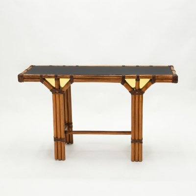 Bamboo & brass French console table with black glass top, 1970s