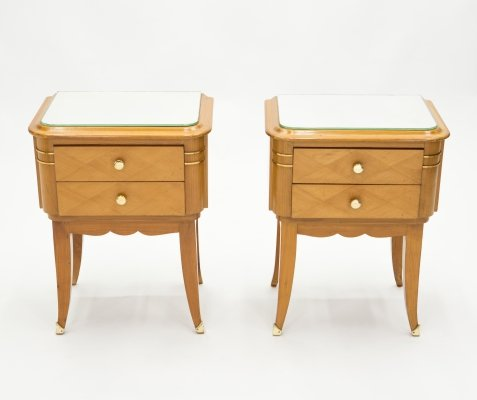 French sycamore & brass Night Stands with 2 drawers by Jean Pascaud, 1940s